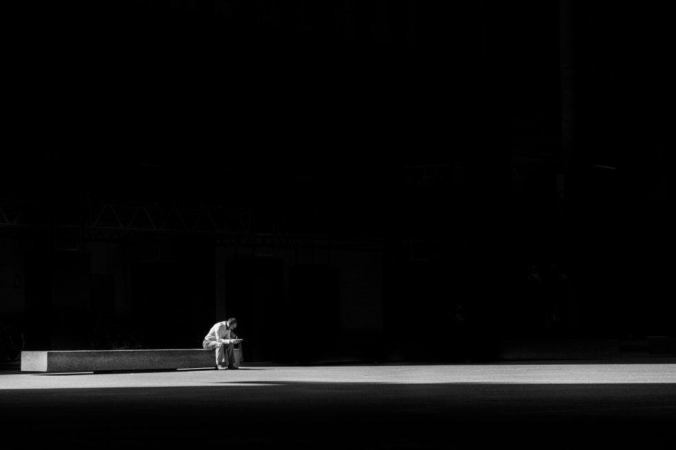 lone man in dark
