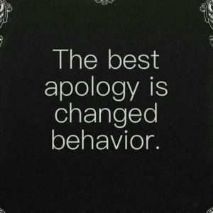 meme- the best apology is changed behavior