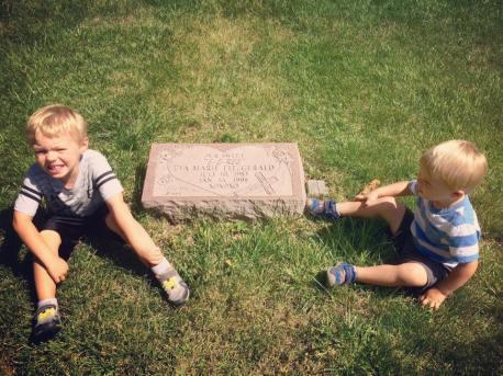 boys at cemetery